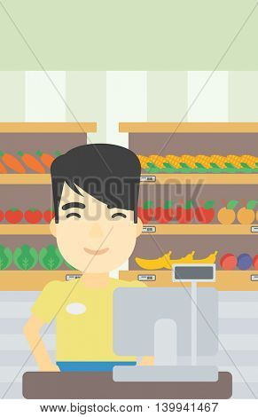 An asian young cashier standing at the checkout in supermarket. Male cashier working at checkout in supermarket. Vector flat design illustration. Vertical layout.