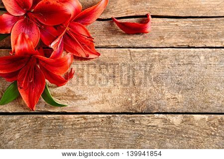 Beautiful lilies on wooden background
