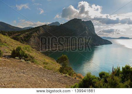 View on Mount Koba-Kaya from Cape Kapchik in the Black Sea. Crimea.