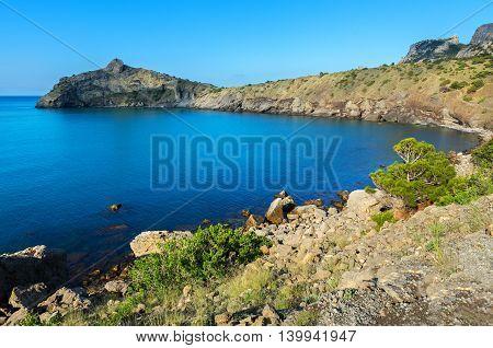 Beautiful Cape Kapchik in Black Sea. Crimea.