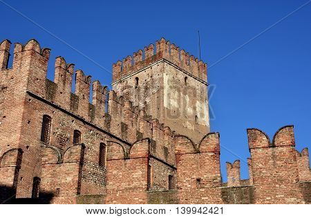 Castelvecchio (Old Castle) keep with characteristic ghibelline battlements one of the most famous landmarks in Verona