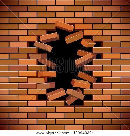 broken brick wallbroken brick wall , vector illustration