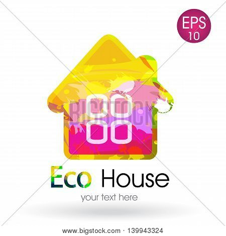 Bright vector logo of the eco house