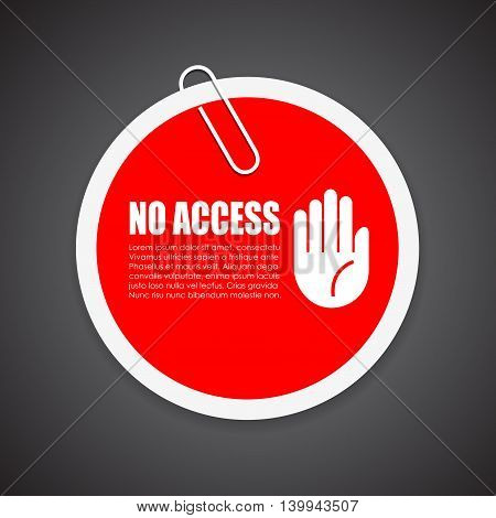 No access security sticker isolated on white background