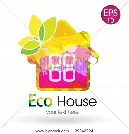 Bright vector logotype of the eco house with butterfly