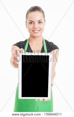Happy Young Hypermarket Seller Holding Modern Tablet