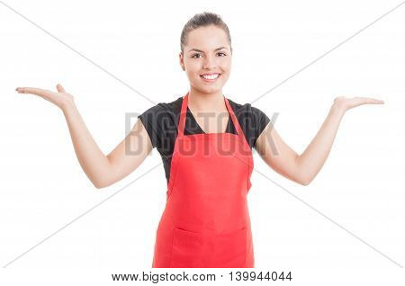 Cheerful Employee Holding Something In Her Palms