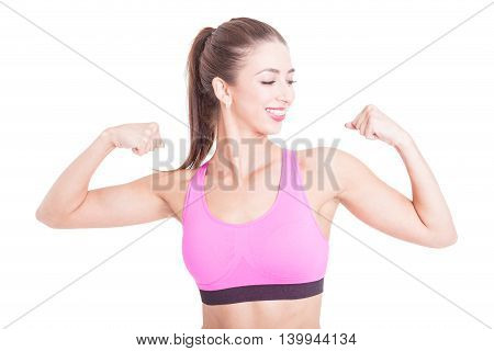 Fit Girl Smiling And Showing Her Biceps