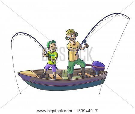 Family fishing. Father with his son are fishing with boat. Isolated on white. Vector Illustration.