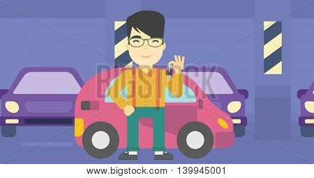 An asian man holding keys to his new car. Happy young man showing key to his new car on the background of car shop. Vector flat design illustration. Horizontal layout.