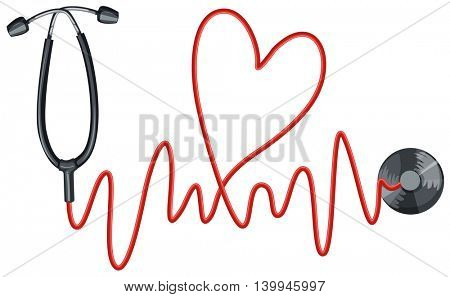 Stethoscope and heartbeats graph illustration
