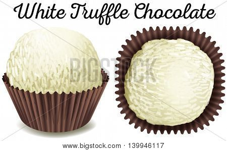 White truffle chocolate in brown cup illustration