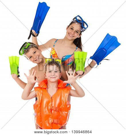 Three happy kids in diving mask standing together, isolated on white