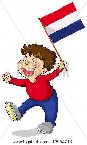 Little boy holding Netherlands flag illustration