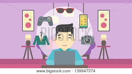 An asian man sitting in front of laptop and some images of goods around him. Man doing online shopping. Man buying on internet. Vector flat design illustration. Horizontal layout.