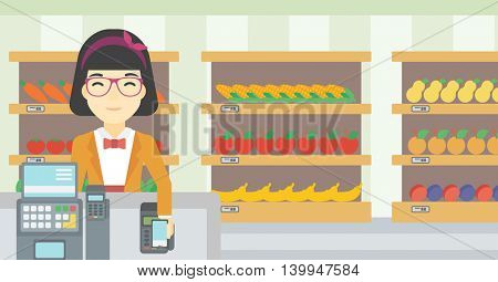 An asian young woman paying wireless with smartphone at the supermarket checkout . Female customer making payment for purchase with smartphone. Vector flat design illustration. Horizontal layout.