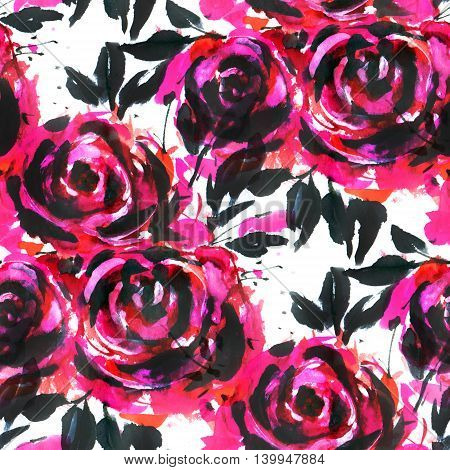 Seamless pattern with red roses. Drawing with ink and watercolor.