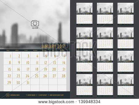 Vector of Calendar 2017 year 12 month calendar set with modern styleweek start at SundayTemplate for place your photo.