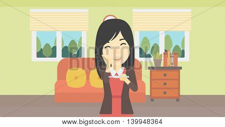 An asian delighted woman looking at positive pregnancy test on the background of living room. Young woman checking pregnancy test. Vector flat design illustration. Horizontal layout.