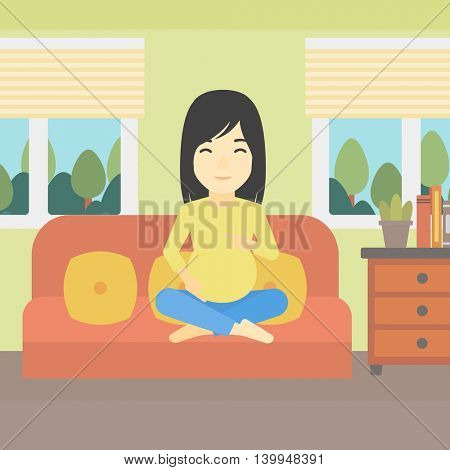 An asian pregnant woman holding her hands on belly. Young pregnant woman sitting on a sofa at home. Vector flat design illustration. Square layout.