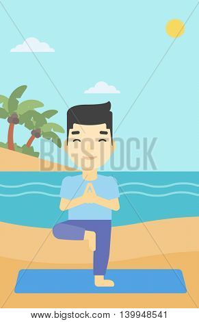 An asian young man standing in yoga tree pose. Man meditating in yoga tree position on beach. Man doing yoga on nature. Vector flat design illustration. Vertical layout.