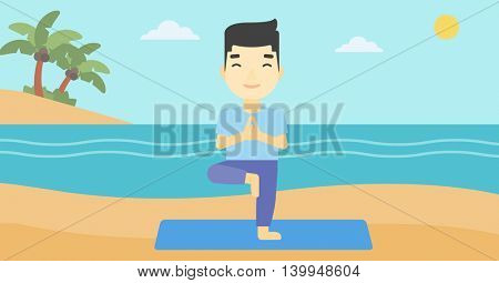 An asian young man standing in yoga tree pose. Man meditating in yoga tree position on beach. Man doing yoga on nature. Vector flat design illustration. Horizontal layout
