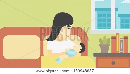 An asian mother holding newborn in maternity ward. Mother nursing baby. Mother and infant resting at hospital. Happy mother with newborn. Vector flat design illustration. Horizontal layout.