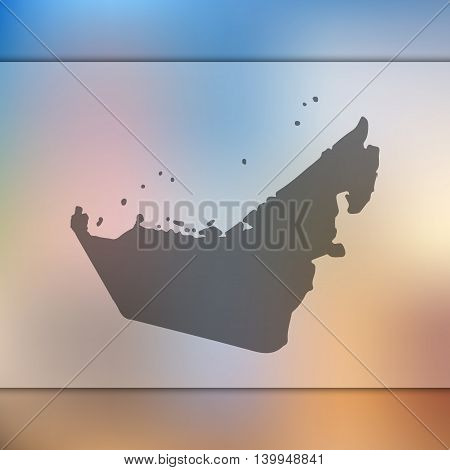 United Arabian Emirates map on blurred background. Blurred background with silhouette of Emirates. United Arabian Emirates. Emirates map.