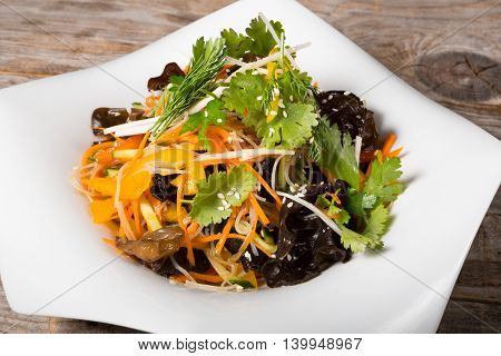 Asian salad with mixed vegetables and shiitake mushroom