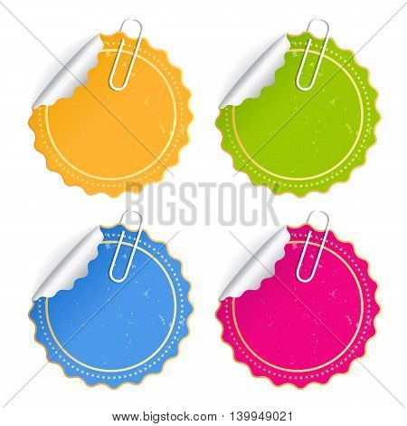 Paper stickers set isolated on white background