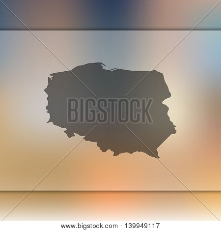 Poland map on blurred background. Blurred background with silhouette of Poland. Poland. Poland map. Blurred background. Poland silhouette. Poland vector map.