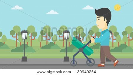 An asian young father walking with baby stroller in the park. Father walking with his baby in stroller. Father pushing baby stroller. Vector flat design illustration. Horizontal layout.