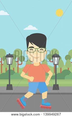 An asian young man on roller-skates in the park. Full length of sportsman in protective sportwear on rollers skating outdoors. Vector flat design illustration. Vertical layout.