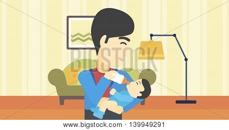 An asian father feeding baby with a milk bottle. Father feeding newborn baby at home. Baby boy drinking milk from bottle. Vector flat design illustration. Horizontal layout.