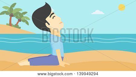 An asian young man practicing yoga upward dog pose. Man meditating in yoga upward dog position on the beach. Man doing yoga on nature. Vector flat design illustration. Horizontal layout