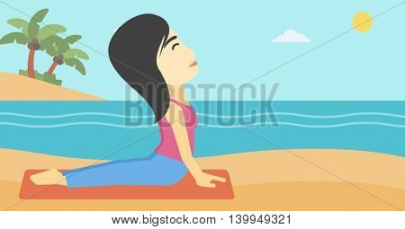 An asian young woman practicing yoga upward dog position. Woman meditating in yoga upward dog position on the beach. Woman doing yoga on nature. Vector flat design illustration. Horizontal layout