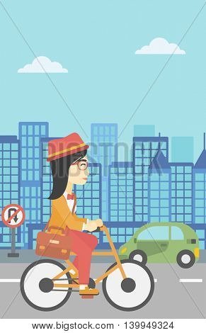 An asian young woman riding a bicycle. Cyclist riding bike on city background. Business woman with briefcase on a bike. Healthy lifestyle concept. Vector flat design illustration. Vertical layout.