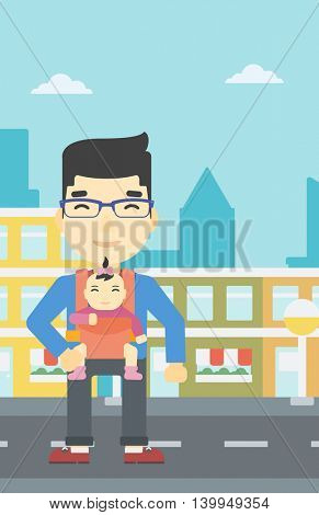 An asian father carrying daughter in sling. Father with baby in sling walking in the city street. Young father carrying newborn in sling. Vector flat design illustration. Vertical layout.