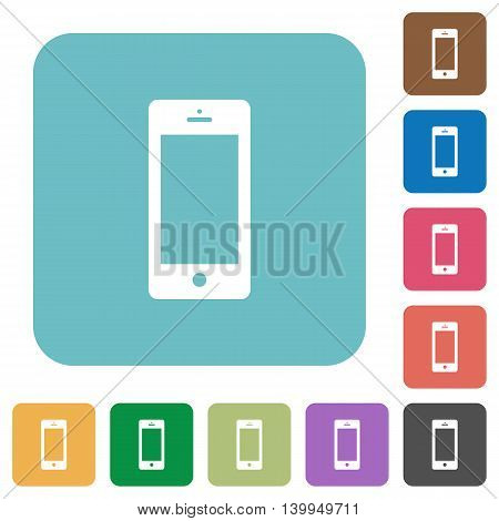 Flat cellphone icons on rounded square color backgrounds.