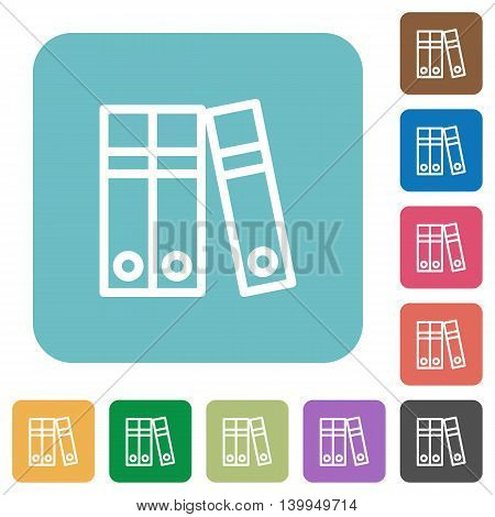 Flat document folders icons on rounded square color backgrounds.
