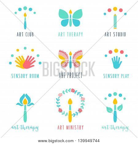 Art Class, Studio and Projects Icons. Art Therapy and Sensory Play Signs. Vector Design