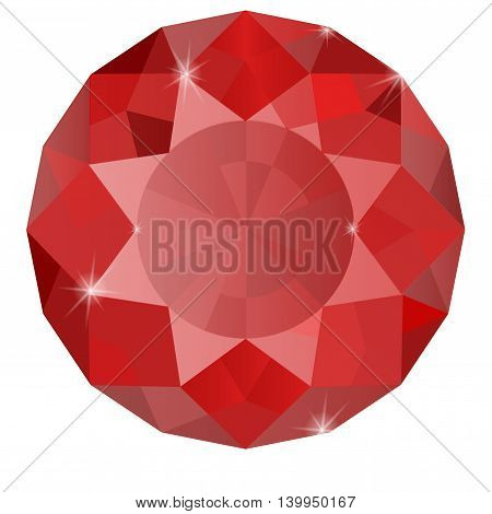 Ruby. Vector illustration isolated on white background