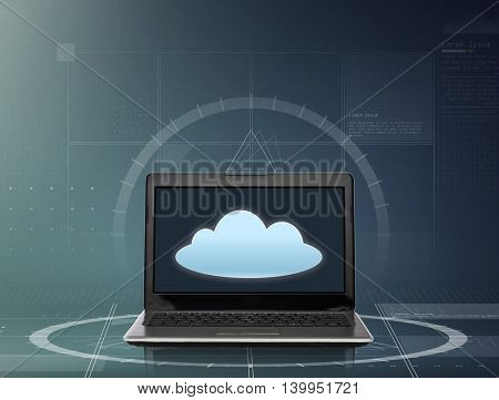 technology, computing and telecommunication concept - laptop computer with cloud icon on screen over gray background