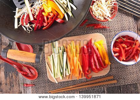 vegetable cooking with frying pan