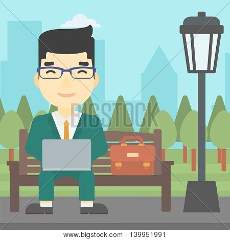 An asian young businessman working in the park. Man working on a laptop. Businessman sitting on a bench with laptop. Vector flat design illustration. Square layout.