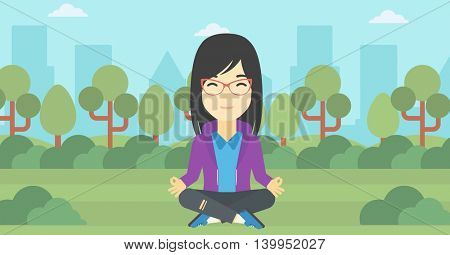 An asian young business woman meditating in yoga lotus position outdoor. Business woman relaxing in the park in the lotus position. Vector flat design illustration. Horizontal layout