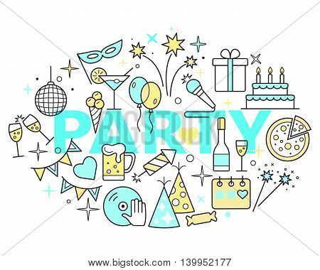 Event and Celebration Outline Icons. Party time concept illustration thin line flat design.