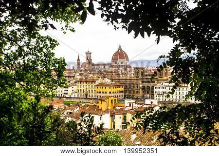 Panorama of Florence and Saint Mary of the Flower cathedral in Florence, Italy.