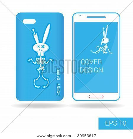 Concept Design Cover Mobile Smartphone With Dancing Funny Rabbit Skeleton In Cartoon Style Isolated