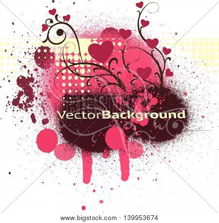Beautiful vector background about love. Multicolored blots and twigs with hearts.